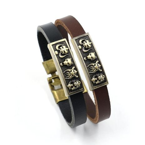 Unisex cartoon character alloy ornament leather Bracelet NHHM121411's discount tags