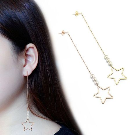 Womens Star Plating Titanium Steel Hollow five-pointed star Earrings NHOK121415's discount tags