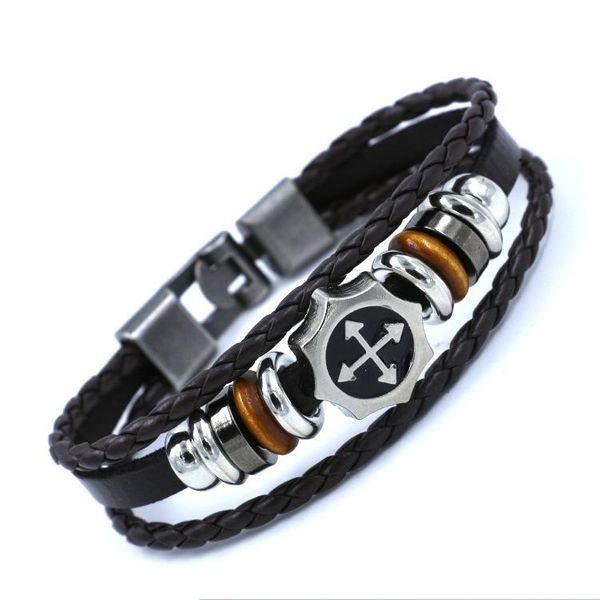 Mens Geometric Beaded buckle leather Bracelet NHHM121425