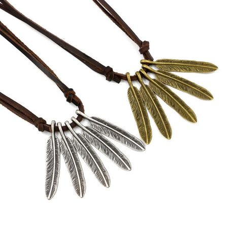 Unisex leaf  Vintage fashion punk cowhide feather alloy Necklaces NHHM121424's discount tags