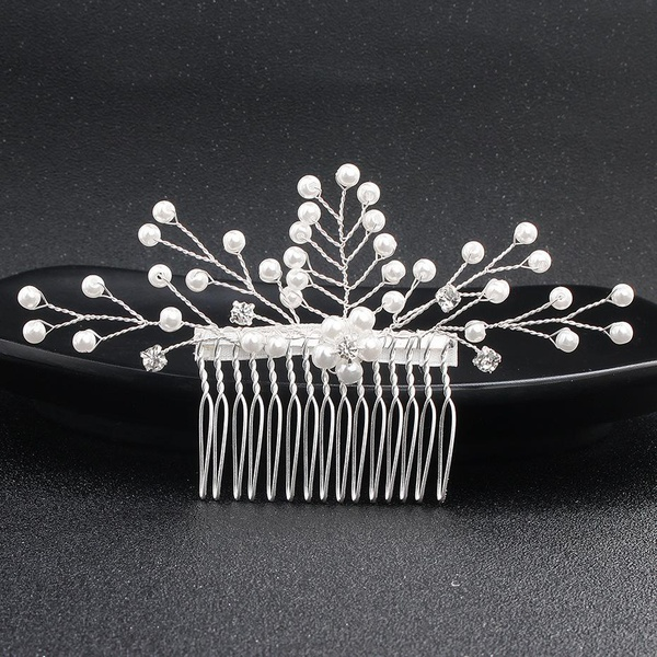 Womens floral electroplating alloy Simple hair comb NHHS121426