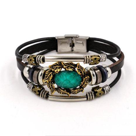 Womens geometric gemstones  Vintage ethnic wind leaf gems Bracelet NHHM121433's discount tags