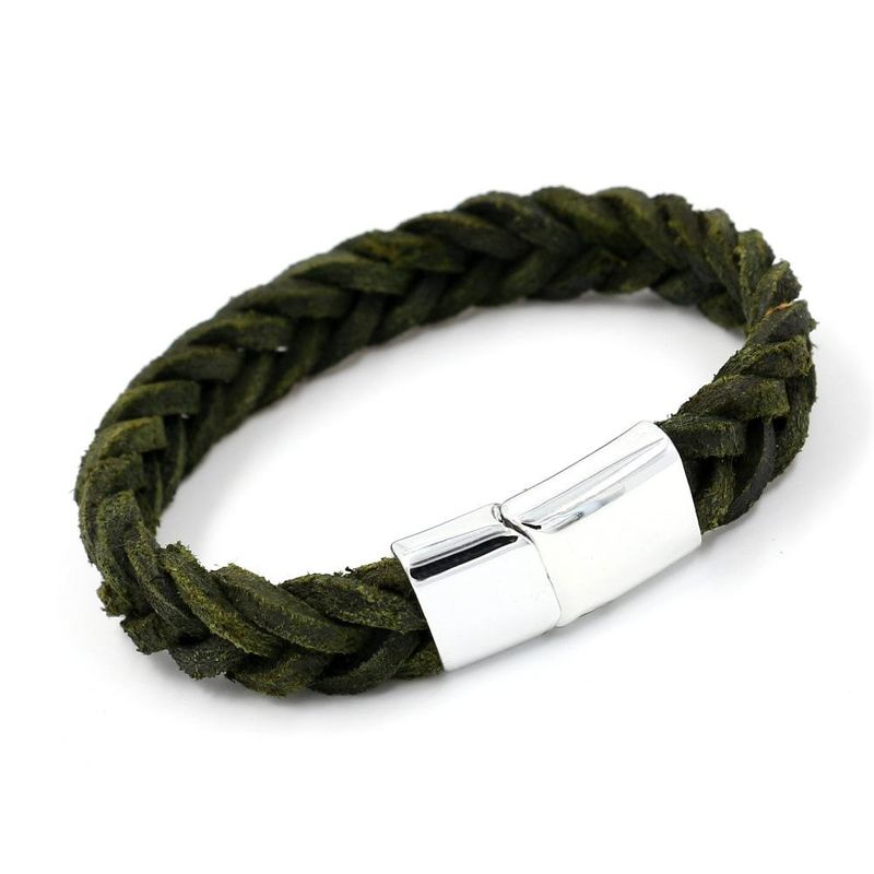 Mens Geometric Double-sided cowhide weave Leather Bracelet NHHM121444