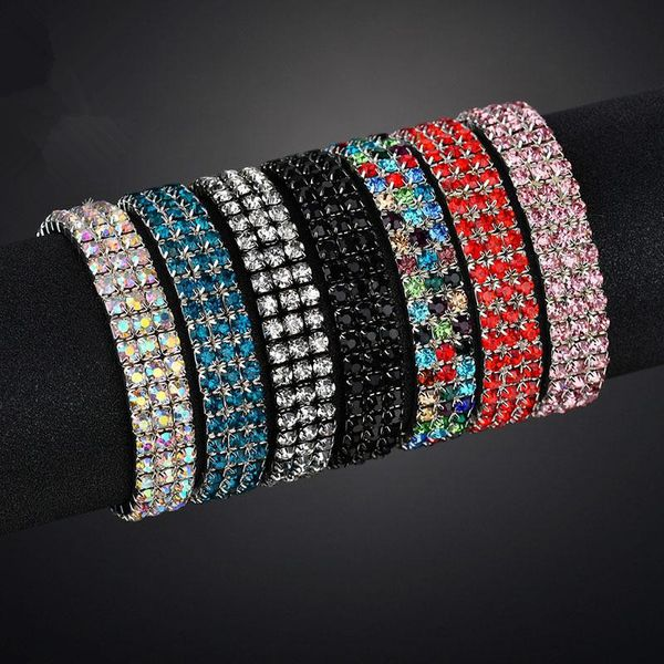 Womens Geometric Stainless Steel Exquisite three rows of colored rhinestones  Bracelet NHHF121445