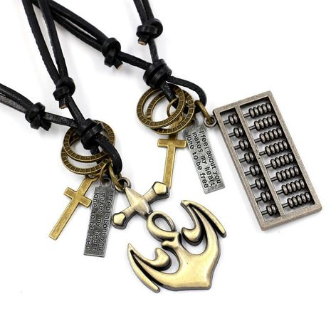 Mens geometric plating Vintage alloy abacus leather  Necklaces NHHM121447's discount tags