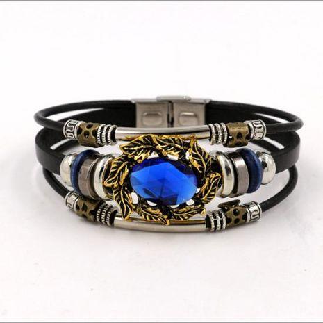 Womens geometric gemstones Blue gem leather Bracelet NHHM121457's discount tags