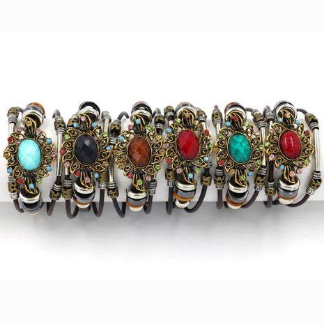 Womens geometric gemstones  Red gem vintage leather Bracelet NHHM121465's discount tags