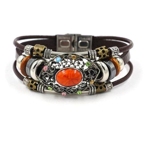 Womens geometric gemstones  Vintage leather gemstone beaded Bracelets  NHHM121468's discount tags