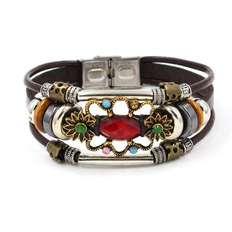 Womens geometric gemstones Ruby leather  Bracelets  NHHM121487's discount tags