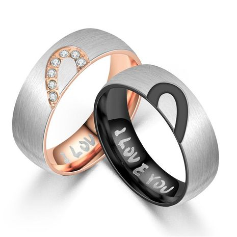 Couple Heart Shaped Half peach heart couple  Stainless Steel Rings NHTP121497's discount tags