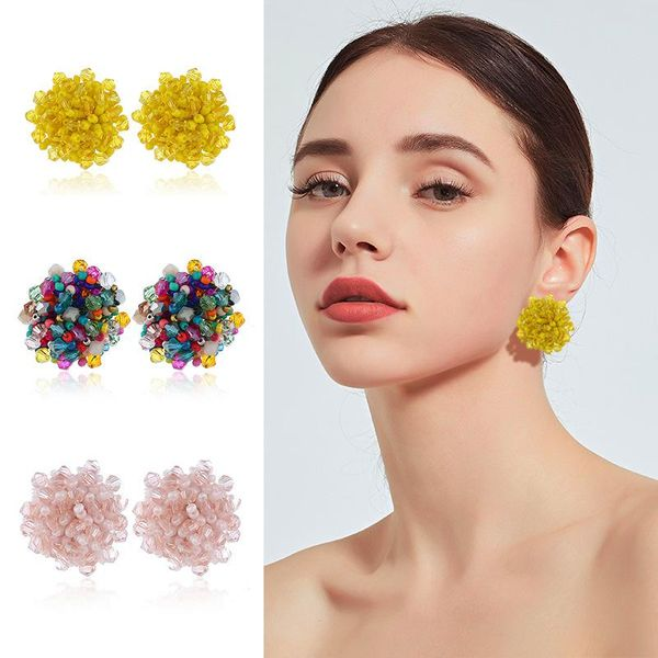 Womens Geometric Metal Multicolor glass beads exaggerated rice Earrings NHKQ121499