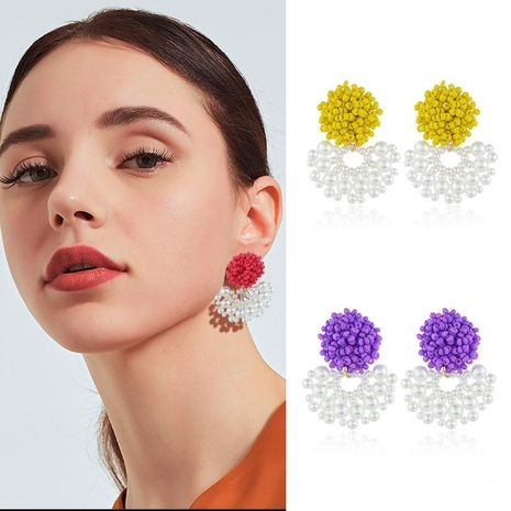 Womens Geometric Plastic Original fan-shaped beads exaggeration   Resin Earrings NHKQ121498's discount tags