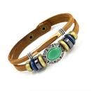Womens Geometric Fashion green opal leather Bracelet NHHM121355
