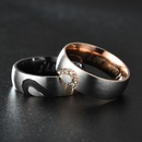 Couple Heart Shaped Half peach heart couple  Stainless Steel Rings NHTP121497
