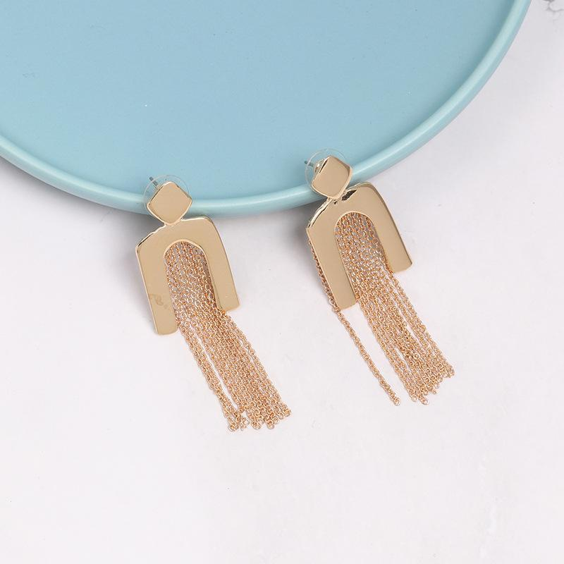 Womens Geometry Electroplating  tassel Alloy Earrings NHJJ121534
