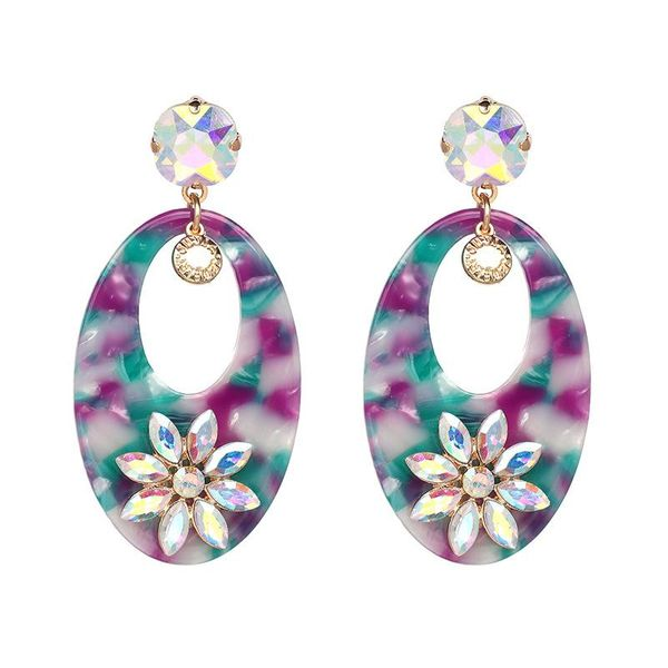 Womens Floral Stylish personality flower Resin Earrings NHJJ121575