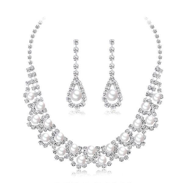 Womens Electroplated Copper Rhinestone Jewelry Sets NHDR121596