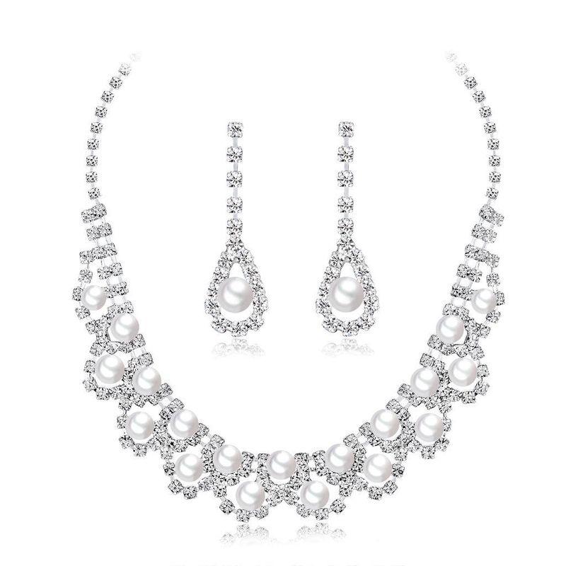 Conjuntos de joyería de diamante de cobre galvanizado para mujer NHDR121596