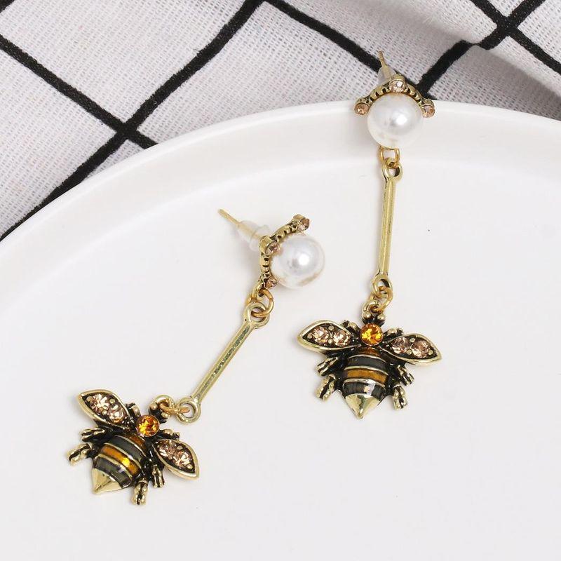 Womens teardropshaped honey beads alloy Earrings NHJJ121597