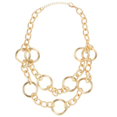 Womens Geometry Stitching double layer versatile retro Necklaces NHCT121618's discount tags