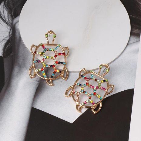 Womens Turtle Retro openwork rhinestone tortoise Alloy Earrings NHJJ121622's discount tags