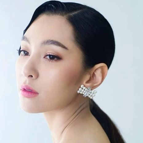 Womens Geometric Imitation Beads Bow Earrings NHJE121647's discount tags