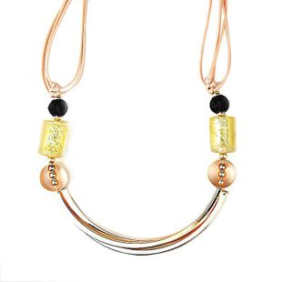 Unisex geometry plating Short bohemian weave alloy Necklaces NHJE121657's discount tags
