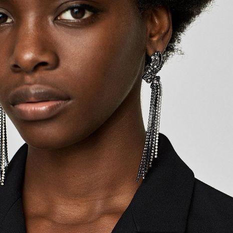 Unisex Geometric Rhinestone tassel Alloy Earrings NHJE121661's discount tags