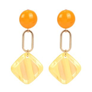 Womens Square Acrylic Two-Color Series Earrings NHCT121665's discount tags