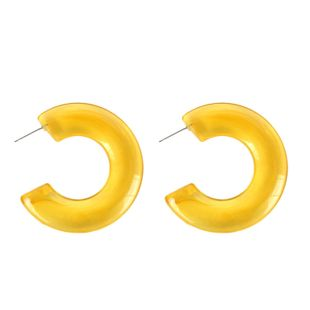 Womens Alphabet Simple semicircle Acrylic Two-Color Series Earrings NHCT121668's discount tags
