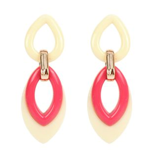 Womens Water Drop Shaped Acrylic Two-Color Series Earrings NHCT121676's discount tags