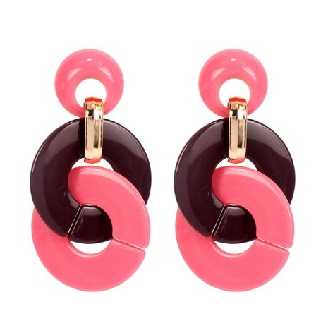 Womens interlocking Acrylic Two-Color Series Earrings NHCT121679's discount tags