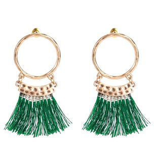 Unisex Geometry Electroplating Multilayer ring tassel  Alloy Earrings NHJE121689's discount tags