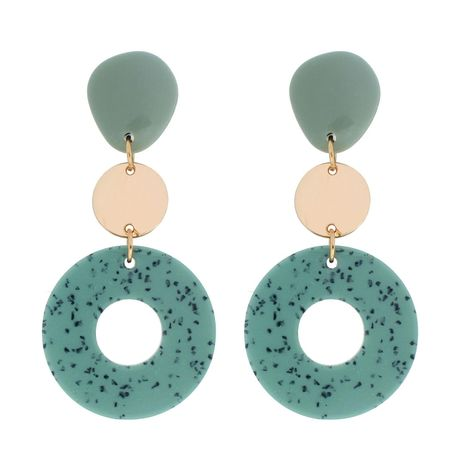 Womens Circle Acrylic Two-Color Series Earrings NHCT121700's discount tags