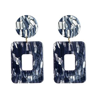 Womens Square Exaggerated black vertical stripes square Plate Earrings NHJE121704's discount tags