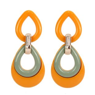 Womens Water Drop Shaped Acrylic Two-Color Series Earrings NHCT121706's discount tags