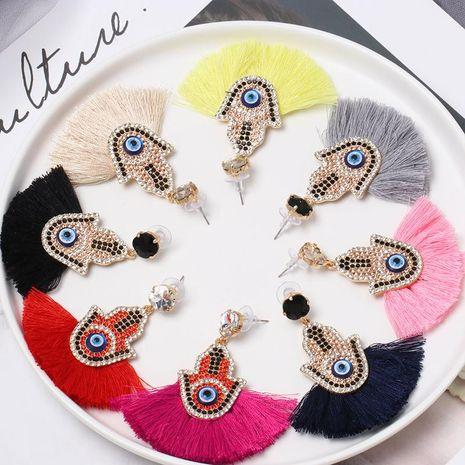 Womens Geometric Rhinestone sector tassel Alloy Earrings NHJJ121710's discount tags