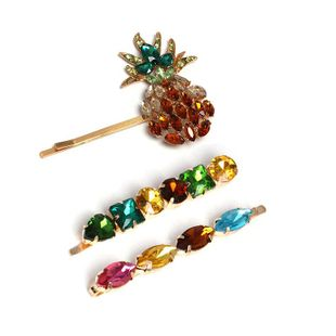 Womens  Rhinestone Mosaic pineapple Alloy Hair clip NHJJ121716's discount tags