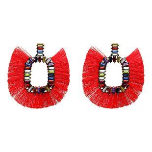 Womens Fringe Exaggerated rhinestone fan tassel Acrylic Earrings NHJE121717's discount tags