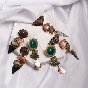 Womens Geometric Retro temperament Rhinestone Metal Earrings NHJJ121718's discount tags