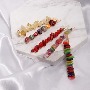 Womens Geometric Resin Colored stone styling hair clips NHJJ121722's discount tags