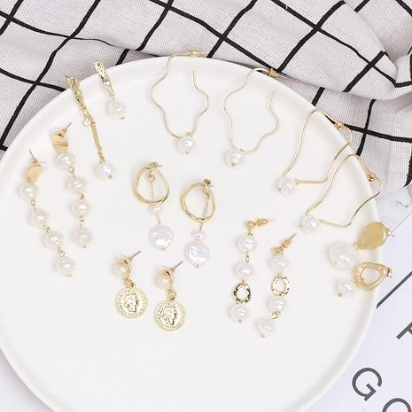 Womens Temperament Shell and Beads Alloy Earrings NHJJ121727's discount tags