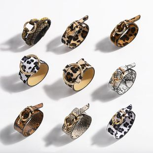 Womens Snake skin leopard Leather Bracelet NHJQ121733's discount tags