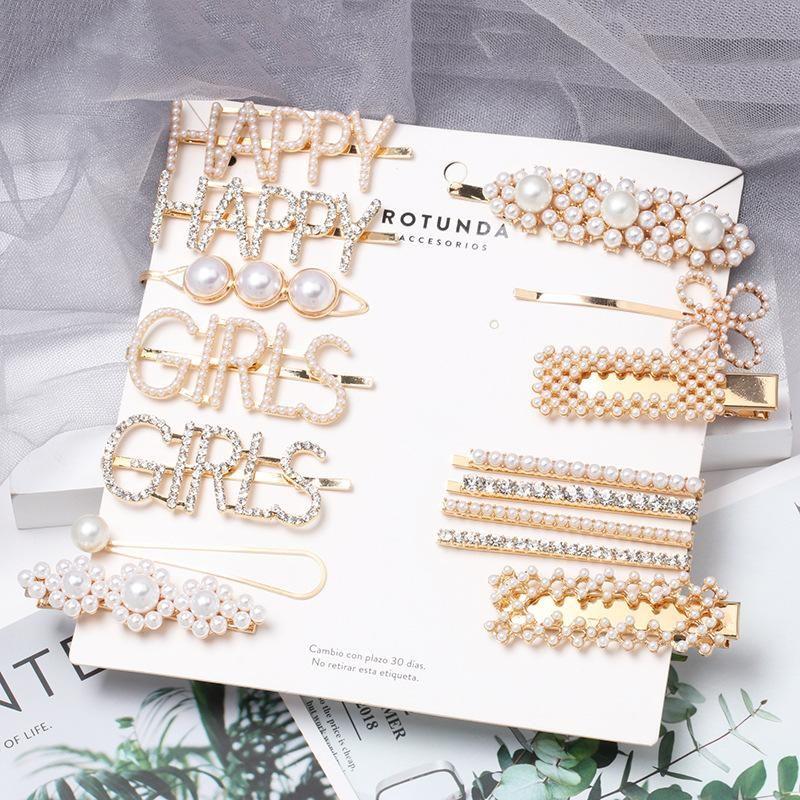 Womens Geometric Beads Capitalized English letters full of rhinestones Hair clip NHJJ121734