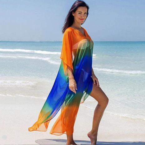 Chiffon gradient seaside holiday dress sunscreen female beach coat NHXW121768's discount tags