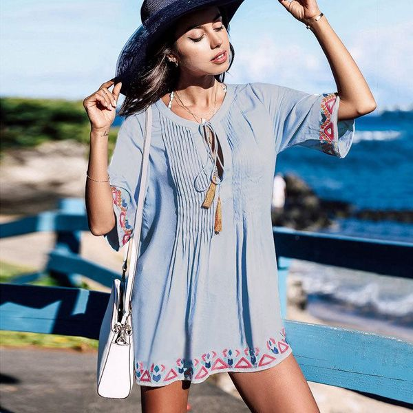 Fashion embroidered chest pleated beach skirt NHXW121772