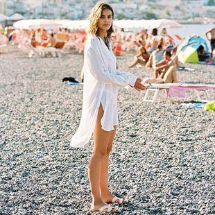 Fashion jacquard shirt collar sunscreen female beach coat NHXW121779's discount tags