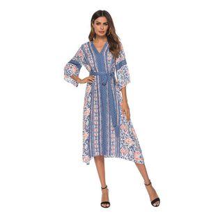Fashion print three-point sleeve sexy long skirt beach skirt NHDF121842's discount tags
