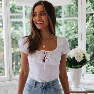 Literary linen cotton short-sleeved T-shirt tops NHDF121860's discount tags