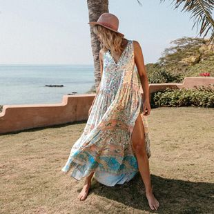 Fashion Print V-neck Short Sleeve Bohemian Maxi Dress NHDF121864's discount tags